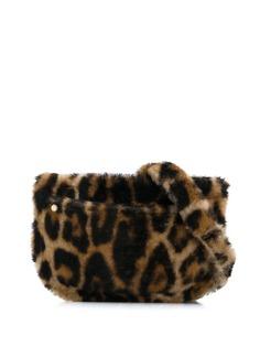 Yves Salomon фактурная поясная сумка с леопардовым принтом