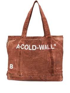 A-Cold-Wall* сумка-тоут с эффектом потертости и принтом