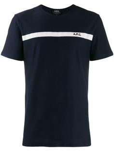 A.P.C. футболка с контрастной полоской