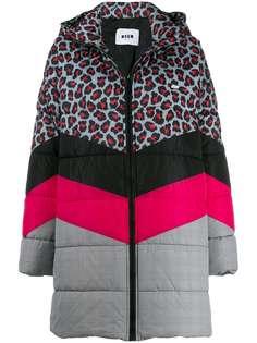 MSGM стеганое пальто с узором