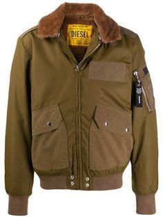 Diesel faux-fur collar bomber jacket