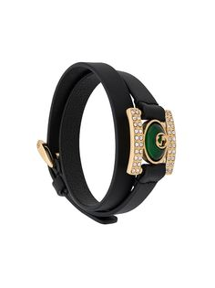 Gucci браслет с кристаллами и логотипом Interlocking G