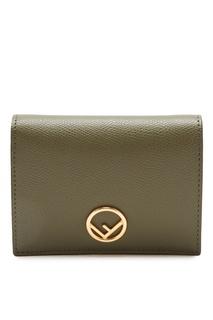 Зеленый складной кошелек с монограммой Fendi