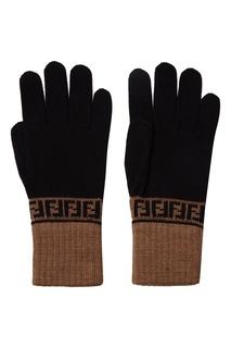Черные перчатки с контрастной отделкой Fendi