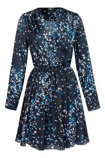 Синее платье-мини с запахом и узором Terekhov Girl
