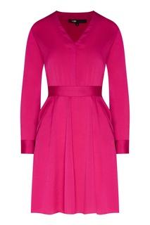 Розовое платье с V-вырезом Maje