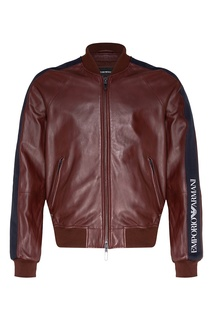 Бордовая куртка из кожи Emporio Armani