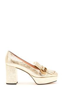 Золотистые туфли GG Marmont Gucci