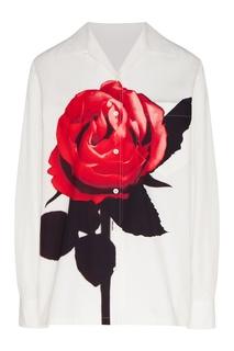 Белая рубашка с цветочным рисунком Prada