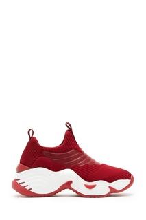 Темно-красные кроссовки из трикотажа Emporio Armani