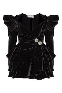 Черное бархатное платье мини с драпировками Attico