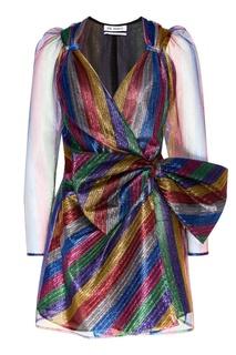 Блестящее платье из разноцветного тюля Attico