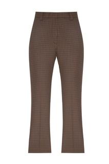 Коричневые брюки с отделкой в клетку Sandro