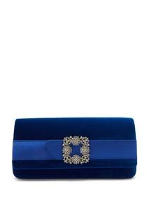 Синий бархатный клатч с пряжкой Gothisi Manolo Blahnik