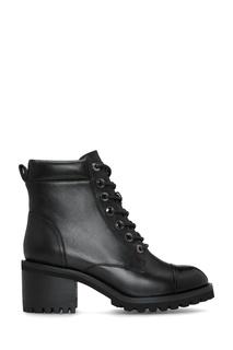 Черные ботинки на каблуке с лаковым носом Portal