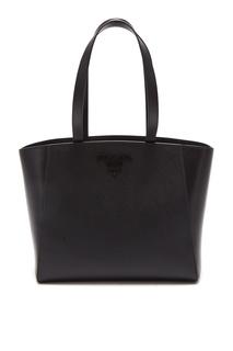 Черная сафьяновая сумка-тоут Shopping Prada