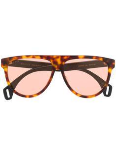 Gucci Eyewear солнцезащитные очки-авиаторы в круглой черепаховой оправе