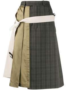 Maison Margiela юбка миди асимметричного кроя в технике пэчворк