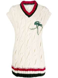 Lacoste свитер-жилет фактурной вязки с эффектом потертости