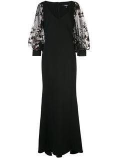 Badgley Mischka вечернее платье с цветочной аппликацией