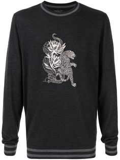 SHANGHAI TANG tiger-embroidered sweatshirt