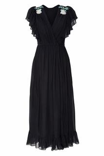 Черное платье с запахом и вышивкой Alena Akhmadullina
