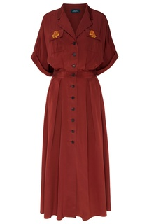Темно-красное платье на пуговицах Alena Akhmadullina
