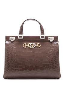 Серая сумка из крокодиловой кожи Zumi Gucci