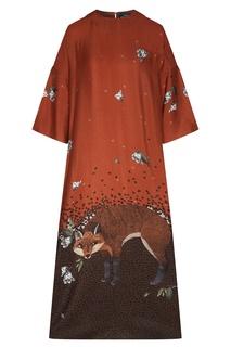 Свободное платье с принтом и вышивкой Alena Akhmadullina