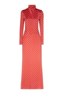 Красное в белый горох шелковое платье макси Alessandra Rich