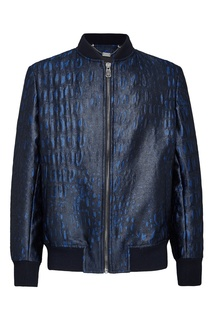 Синяя куртка-бомбер с узором Billionaire