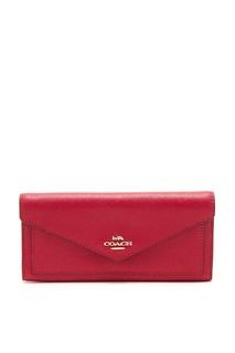 Красный кожаный кошелек в форме конверта Coach