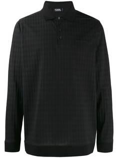Karl Lagerfeld рубашка-поло с длинными рукавами и узором