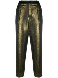 Lanvin Pre-Owned брюки прямого кроя с эффектом металлик