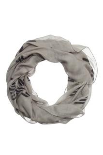 Серый шарф с контрастной отделкой Emporio Armani