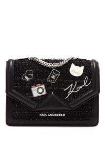 Комбинированная черная сумка с отделкой Karl Lagerfeld