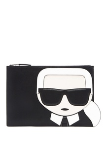 Черный клатч с фирменной аппликацией Karl Lagerfeld