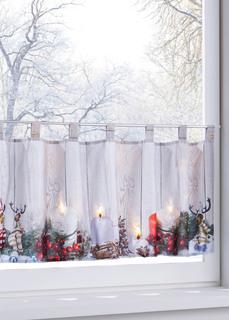 Кухонная штора Новогодние узоры со светодиодной подсветкой Bonprix