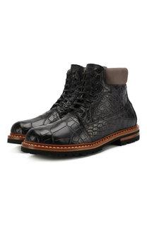 Ботинки из кожи крокодила Kiton