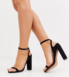 Черные легкие босоножки на блочном каблуке Lost Ink wide fit