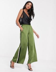 Атласные широкие брюки с лампасами Lost Ink
