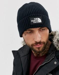 Темно-синяя шапка-бини с логотипом The North Face