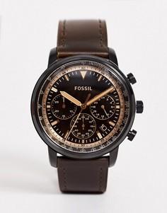 Мужские часы с хронографом и кожаным ремешком Fossil FS5529