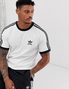 Белая футболка с 3 полосками adidas Originals