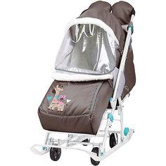 """Санки-коляска Nika """"Наши детки"""", шоколадные с жирафом"""