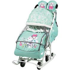 Санки-коляска Nika Baby 2 Минни Маус, мятные