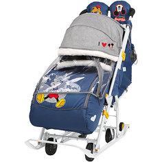 Санки-коляска Nika Baby 2 Микки Маус, тёмно-синие