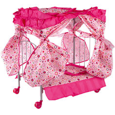 Кроватка для кукол Buggy Boom розовый с разноцветными кружочками