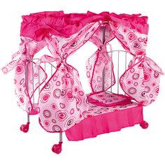 Кроватка для кукол Buggy Boom розовый с разноцветными кольцами