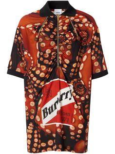 Burberry рубашка-поло с принтом